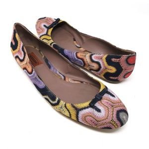 Missoni embroidered kit ballet flats, size 11